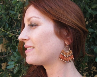 Carnelian, Aventurine and Bronze Pearl 14K Gold Filled Handmade Drop Earrings