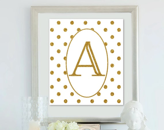 Gold polka dots alphabet letter wall art by bestdesignland for Gold wall decor letters