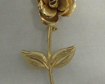 Pin, Long Stem Rose, Gold Tone, 1970's