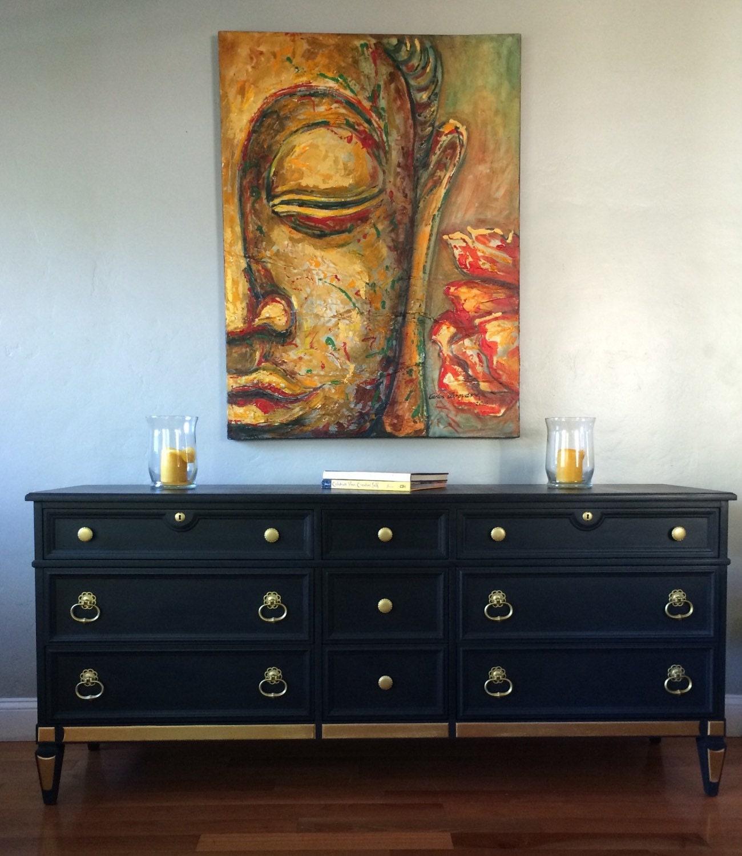 Sample Piece Solid Wood Navy Blue Gold Dipped Dresser Buffet