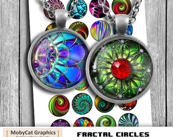 """Fractals Printable Circle Images 1"""" 1.5"""" for Jewelry making, Bottle caps, Cabochons Digital Collage Sheet Instant Download"""
