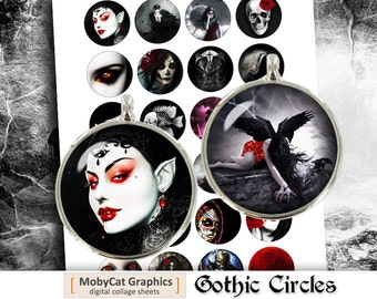 Gothic Printable Circles 1 inch 30mm 1.5 inch Cabochon Images Bottle cap images Digital Collage Sheet - Instant Download