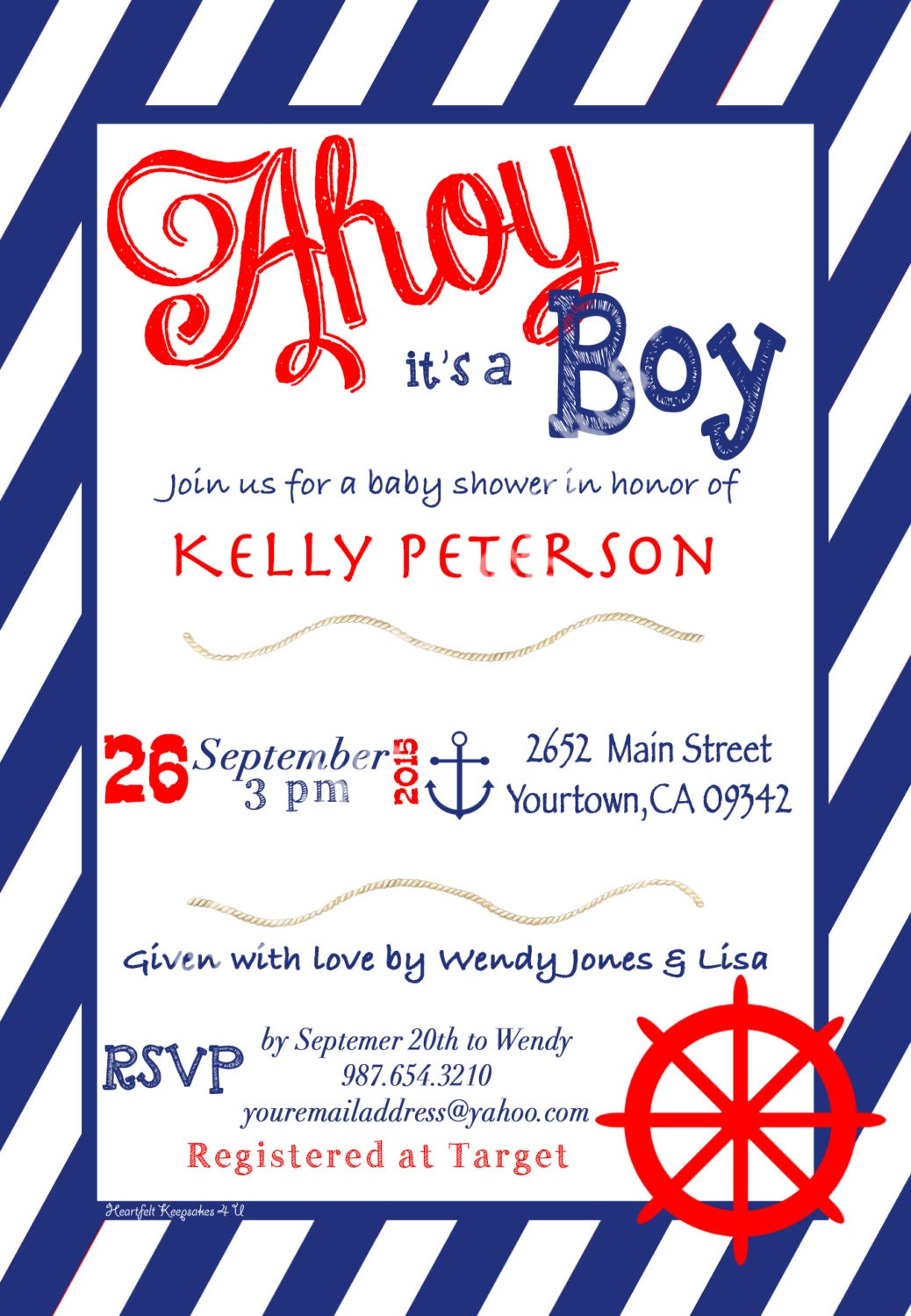 nautical boy baby shower invitation english or spanish