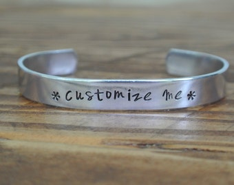 Custom Hand Stamped Bracelet Cuff | Personalized Bracelet | Personalized Cuff | Aluminum Bracelet | Girlfriend Gift | Gifts For Her