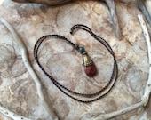 Jasper Stone Gypsy Macrame Necklace, Boho Necklace
