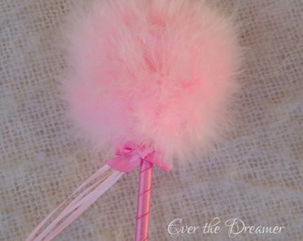 Lolly Pink Powder Puff princess wand girls ballet prop fairy wand pretty pink feather wand ballet props