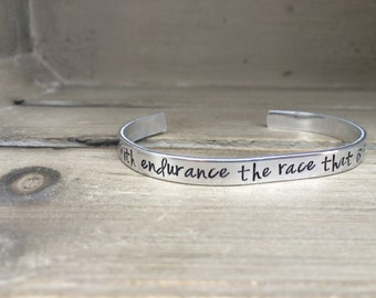Run With Endurance the Race That Is Set Before You Hebrews 12:1 Bible Verse Bracelet Hand Stamped Aluminum Brass Copper Cuff Bracelet