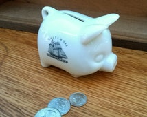 Small Piggy Bank, Baltimore Souvenir, White Ceramic with Blue Clipper Ship, Vintage Miniature Banks, Nautica Theme,  Retro Decor