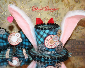 Steamed Wonderland March Hare Hat and Bow, Steampunk Hat, Steampunk Bow, Alice in Wonderland, Lolita