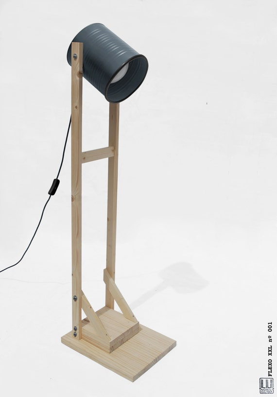 Floor lamp , charcoal dark grey + light pine wood, hand-made / home-made ...ECO-friendly: recyled from big olives can !