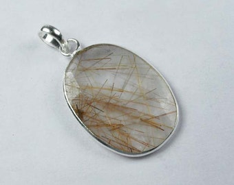 925 Sterling Silver Golden Rutile/ Golden Rutilated Quartz Pendant SF-1132