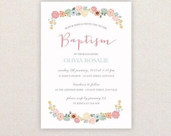 Girls Christening/baptism Invitations. Floral border. I Customize, You Print.