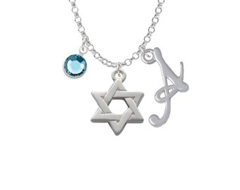 Star of David Charm Necklace - Personalized Initial Jewelry with Crystal - Jewish Gifts - Judaica Jewelry NC-Channel-C1242-SmGelato-F2301