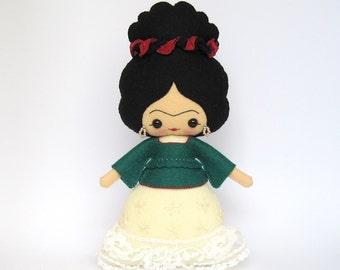 Frida Kahlo 100% wool felt doll, Frida doll