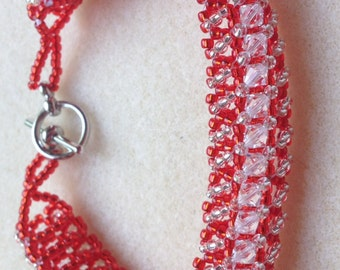 Beaded Swarovski Crystal Bracelet-Red-8 in.