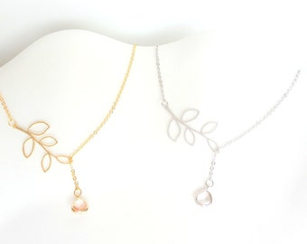 Silver Leaf Lariat, Gold Lariat Necklace, Gold Leaf Necklace, Delicate Necklace, Bridesmaid Gift, Mother's Day Gift