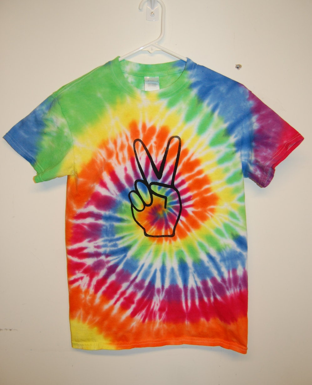 peace t shirt hand screen printed tie dye rainbow by