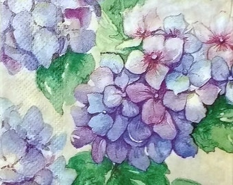TWO (2) Hydrangea Flowers Paper Hostess Napkins for Decoupage and Paper Crafts