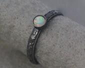 Ethiopian Opal Sterling Ring, Art Deco Engagement Ring, Welo opal, dark oxidized floral band, milgrain edged, romantic, Alabama silversmith