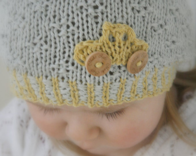 KNITTING PATTERN car beanie hat Maxwell (baby, toddler, child sizes)
