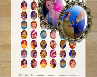 BEAUTY and the BEAST Digital collage sheet Ovals 30x40, 22x30, 25x18 & 18x13, supplies,printables,pendants,magnets,earrings,rings,jewellry