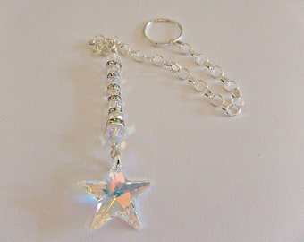 Crystal suncatcher, Swarovski suncatcher, crystal star suncatcher, suncatcher for home, suncatcher for car, Crystal AB suncatcher, UK seller