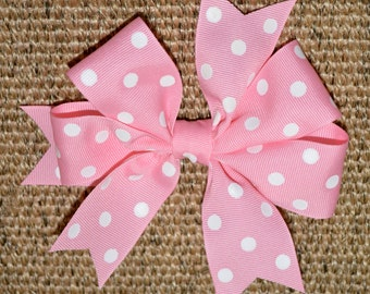 Hair Bow in Pink with White Polka Dots