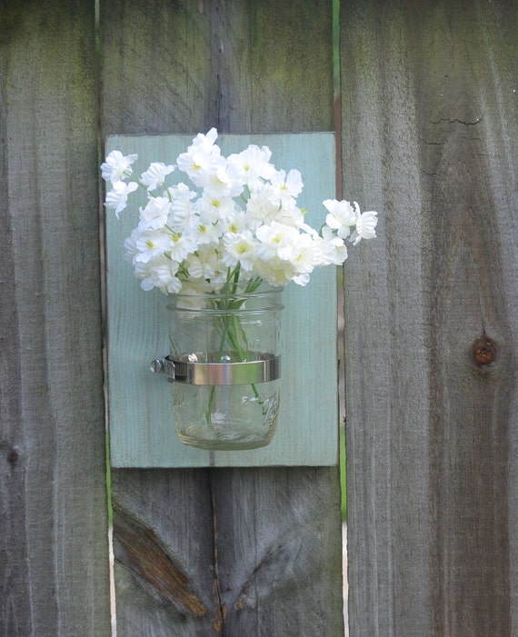Mason Jar Wall Decor How To : Mason jar wall sconce decor by whiteaspenstudio