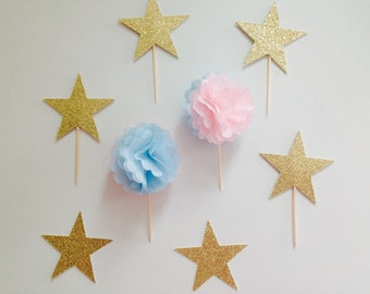 Pom Cupcake Toppers for a Gender Reveal Baby Shower Pom Cupcake Toppers, Pink and blue cupcake toppers, tissue paper pom, baby shower decor