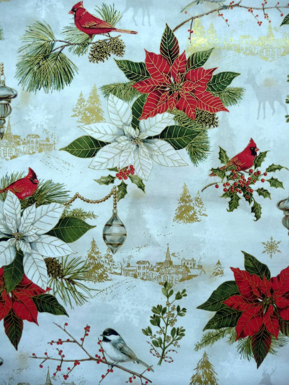 elegant christmas fabric red rooster woodland christmas