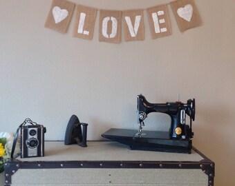 Vintage Wedding Day Bunting Banner. LOVE. Hessian Burlap