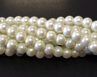 8MM Ivory Glass Pearl Beads
