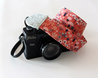 Girls camera strap, Floral camera strap, organic cotton gift for photographer pink strap