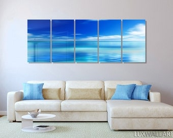 Minimalistic Blue Ocean Sky Large Abstract Metal Wall Art Decor
