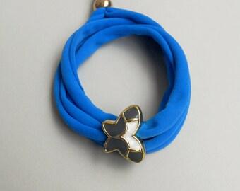 Butterfly bracelet,Triple wrap ,Golden enameled acrylic charm,Stretchy lycra fabric,Faux bijoux,Stacking,Stretch bracelet,Boho chic jewelry