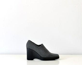 90s gray platform fabric shoes minimalist