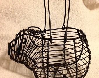 Wire Pig Basket, Kitchen Piggy Basket, Black Wire Pig Basket
