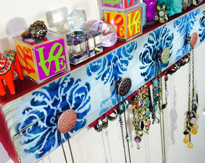 Necklace holder reclaimed wood /jewelry wall hanging / scarf wall organizer storage stenciled damask 2 blue hooks, red bracelet bar, 5 knobs