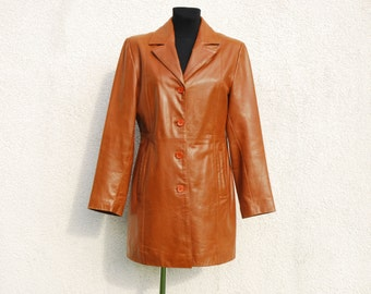 Brown Leather Trench Coat Womens Jacket  Genuine Leather Coat Brown Leather Jacket Large Size