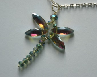 Handmade dragonfly pendant on silver plated chain
