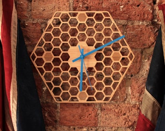 Hexagonal Bamboo Honeycomb Clock with donation to honeybee charity