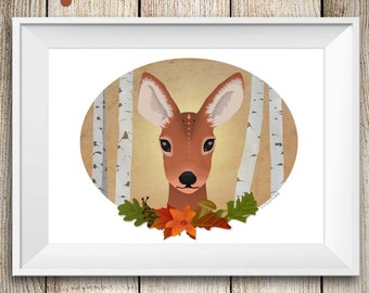 Woodland deer art print, fawn wall art, floral animal illustration,kids art