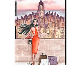 iPad case, ipad cover, ipad mini, ipad air, fashion illustration, fashion art, girl art, pretty ipad case, watercolor - Hello New York