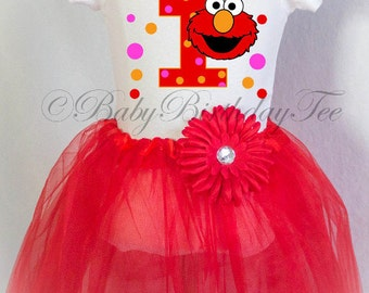Fast Shipping, Elmo Tutu Outfit, Birthday Tutu Outfit, 1st Birthday Outfit, Elmo birthday Girl, Elmo Tutu, Sesame Street Birthday Outfit