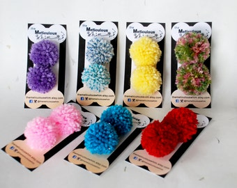 Dog Hair Bows - Dog Pom Pom Hairbows - Set of 2 - Dog Grooming Bows - Dog Accessories