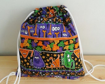 Treat or trick, Halloween backpack,children backpack, kid backpack,children bag, baby bag, kawaii bag, school bag,lunch bag,clothes baby bag