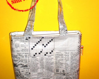 Recycled bag, handmade bag with recycled paper, recycling bag crossword pages settimana enigmistica