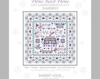 CROSS STITCH KIT Home Sweet Home Sampler by Riverdrift House