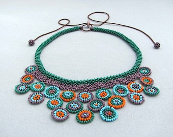 Circle Collage Necklace, Seed beaded Necklace, Art Jewelry.