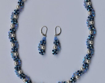 Woven Blue Swarovski Crystal Necklace and Earrings set